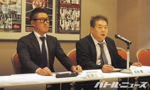 大晦日にさいたまSSAで大会を行うと発表した佐伯繁代表(右)