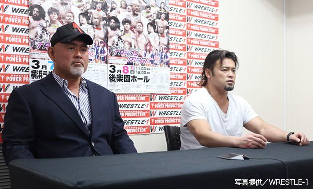 クルーザーのベルト新設決定を発表した武藤敬司とカズ・ハヤシ