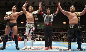 バレットクラブに勝利した棚橋、後藤、柴田のIWGP王者トリオ