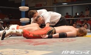 2015-7-8全日本後楽園_鼓太郎vs金丸は壮絶両者KO