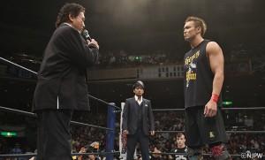 2015-8-16新日本プロレス両国_天龍が引退試合の相手にオカダを指名