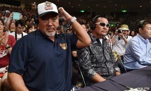 2015-8-16新日本プロレス両国_25回目のG1決勝を見守る第1回G1決勝で対戦した武藤と蝶野